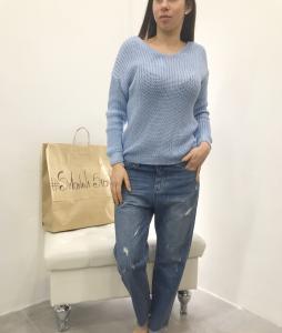 Jeans donna modello boyfit lavaggio chiaro con piccoli strappi |TG S, M, L, XL