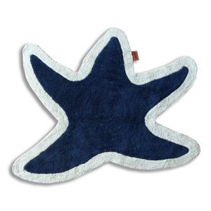 Tappeto bagno Missoni Lohja T501 a forma di stella marina fondo blu bordo beige