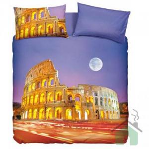 """Set copripiumino piazza e mezza Bassetti """"Roma"""" con colosseo"""