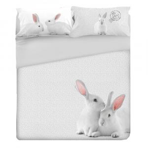 """Set lenzuola per letto singolo un piazza """"Bunny"""" coniglietto sui toni del grigio"""