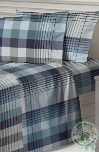 Set lenzuola tinto in filo matrimoniali maxi disegno scozzese sul blu