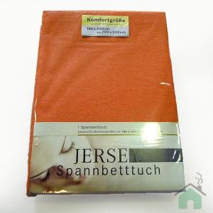 Lenzuola con angoli in maglina di cotone estensibile jersey fino a 200 x 200  arancio
