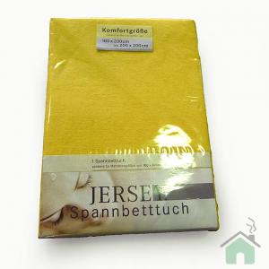 Lenzuola con angoli in maglina di cotone estensibile jersey fino a 200 x 200 giallo 063