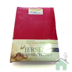 Lenzuola con angoli in maglina di cotone estensibile jersey fino a 200 x 200 rosso 175b