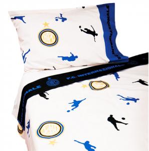 Set lenzuola Inter sui toni del nero azzurro per letto piazza e mezza 2016