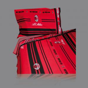 Set lenzuola Milan sui toni del rosso e nero per letto singolo