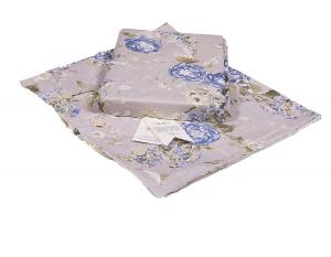 Set copripiumino  BELLORA a Fiori per letto matrimoniale disegno CHARLES BLU puro cotone