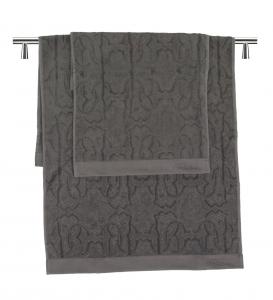 Roberto Cavalli set 1+1 LOGO dark grey asciugamano e ospite in puro cotone