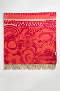 Desigual morbida coperta Lollipop 150x170 cm in acrilico sui toni del rosso
