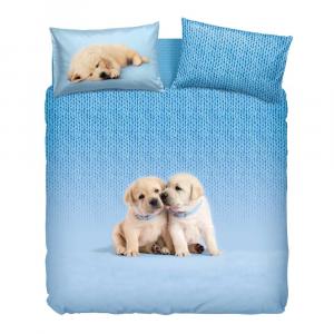 Set Copripiumino Bassetti letto matrimoniale soft dog azzurro