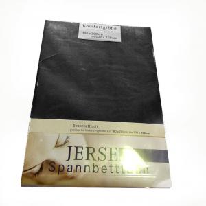 Lenzuola con angoli in maglina di cotone estensibile jersey fino a 200 x 200 nero