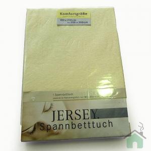 Lenzuola di cotone con angoli matrimoniali Jersey di maglina - giallo chiaro