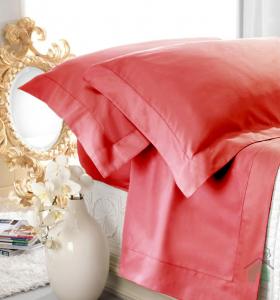 Set lenzuola matrimoniale AURORA in raso di puro cotone a giorno corallo