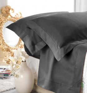 Set lenzuola matrimoniale AURORA in raso di puro cotone a giorno nero