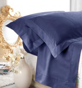 Set lenzuola matrimoniale AURORA in raso di puro cotone a giorno blu