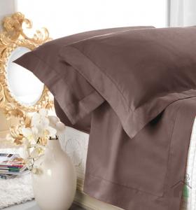 Set lenzuola matrimoniale AURORA in raso di puro cotone a giorno tortora