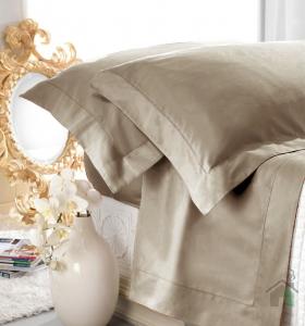 Set lenzuola matrimoniale AURORA in raso di puro cotone a giorno corda
