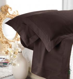 Set lenzuola matrimoniale AURORA in raso di puro cotone a giorno cacao