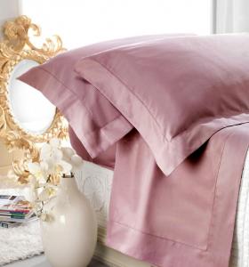 Set lenzuola matrimoniale AURORA in raso di puro cotone a giorno MOSTO