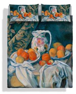 Set lenzuola per letto matrimoniale Quadro Cézanne Arance con tenda