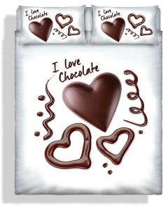 Set copripiumino matrimoniale Cuore di cioccolato stampa 3d