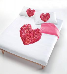 Set copripiumino matrimoniale Cuore di rose stampa tridimensionale
