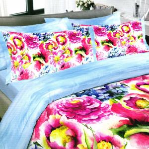 Set copripiumino matrimoniale Cogal campo di fiori rosa stampa digitale