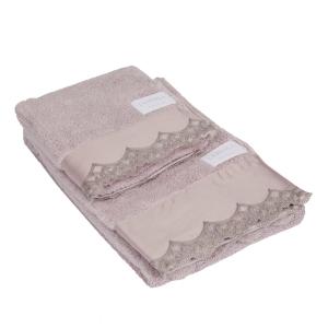Set asciugamani La Perla con pizzo di raso ricamato rosa vita nova microspugna