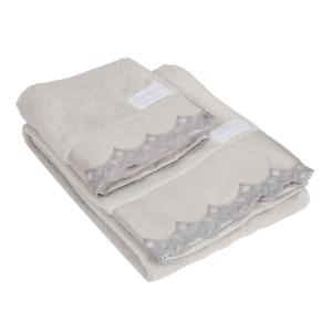 Set asciugamani La Perla con pizzo di raso ricamato grigio vita nova microspugna