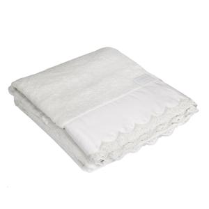Telo da bagno La Perla con pizzo in raso ricamato bianco Vita Nova microspugna