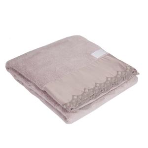 Telo da bagno La Perla con pizzo in raso ricamato rosa Vita Nova microspugna