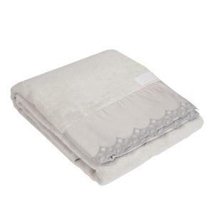Telo da bagno La Perla con pizzo in raso ricamato grigio Vita Nova microspugna