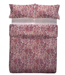 Set lenzuola matrimoniale candotex maxi in raso di cotone etnico rosa antico