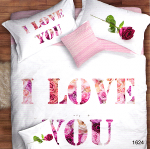 Set copripiumino matrimoniale EMOZIONI NEW - ROSE I LOVE YOU Stampa digitale