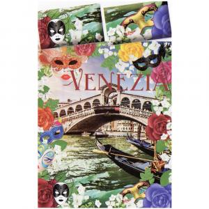 Completo lenzuola matrimoniale VENEZIA multicolore puro cotone stampa digitale