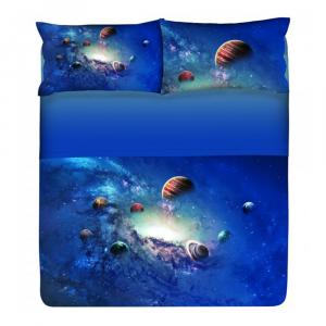 Set lenzuola letto piazza e mezza Gabel COSMO blu puro cotone