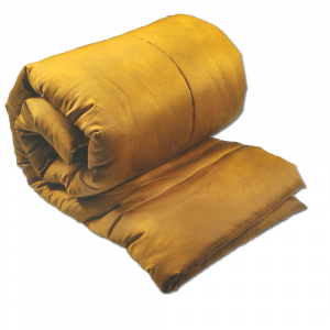 Plaid imbottito trapuntato Borbonese 135x190 cm in raso MISE senape