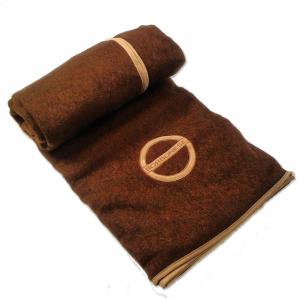 Plaid Borbonese 135x160 cm in lana SUEDE cacao idea regalo con pochette