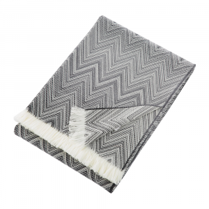 Plaid Missoni Home 130x190 cm TIMMY 601 chevron bianco e nero pura lana