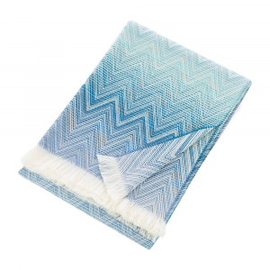 Plaid Missoni Home 130x190 cm TIMMY 701 chevron bianco e blu pura lana