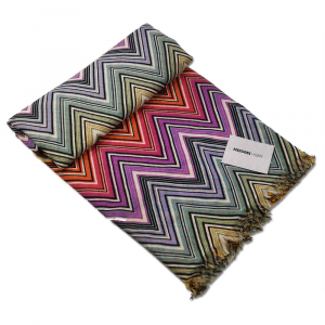 Plaid Missoni Home 140x180 cm TEO 159 chevron multicolore toni caldi pura lana