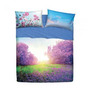 Set lenzuola letto singolo 1 piazza BASSETTI PURPLE SUMMER stampa digitale