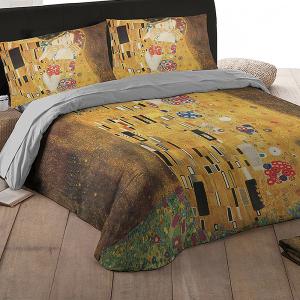 Set lenzuola matrimoniale 2 piazze RANDI Quadri D'Autore - IL BACIO di G.Klimt