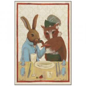 Strofinaccio da cucina Tessitura Toscana - LA STRANA COPPIA - VOLPE puro lino