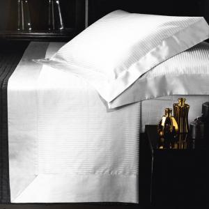Set lenzuola matrimoniale AURORA in raso di puro cotone a righe bianco