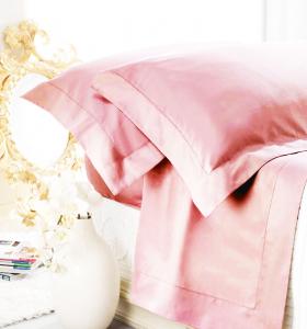 Set lenzuola matrimoniale AURORA in raso di puro cotone a giorno rosa confetto