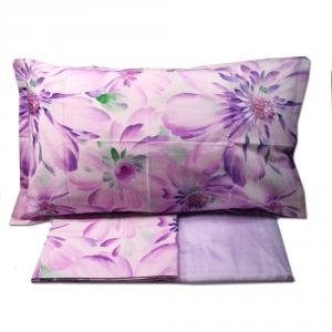 Set lenzuola matrimoniale CASSERA raso di puro cotone floreale SAMAR lilla