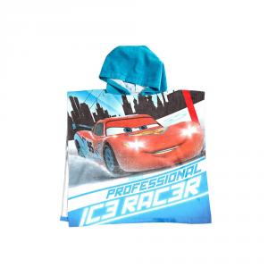 Telo mare con cappuccio poncho CARS Caleffi Disney spugna