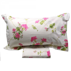 Set lenzuola matrimoniale 2 piazze MIRABELLO percalle GERANI floreale rosa