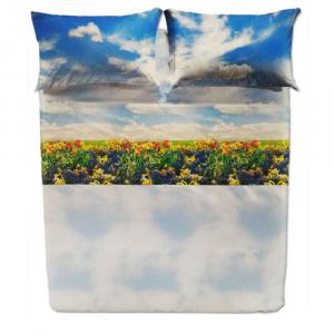 Set lenzuola matrimoniale 2 piazze CALEFFI PRATO puro cotone stampa fotografica